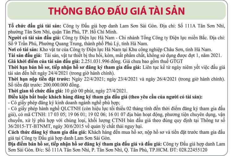Ngày 27/4/2021, đấu giá tài sản vật tư thiết bị thu hồi tại tỉnh Hà Nam ảnh 1