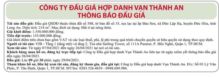 Ngày 29/4/2021, đấu giá quyền sử dụng đất tại huyện Đức Hòa, tỉnh Long An ảnh 1