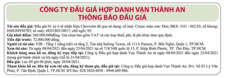 Ngày 26/4/2021, đấu giá xe ô tô Chevrolet tại TP.HCM ảnh 1