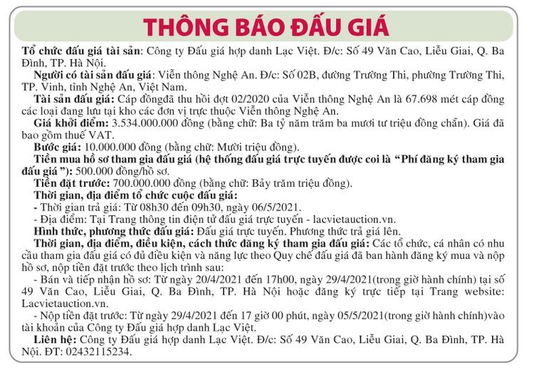 Ngày 6/5/2021, đấu giá cáp đồng thu hồi tại tỉnh Nghệ An ảnh 1