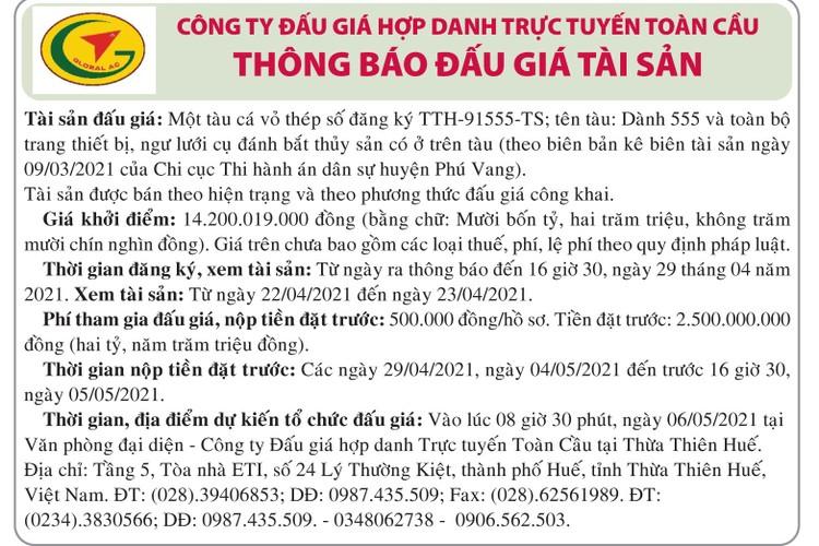 Ngày 6/5/2021, đấu giá quyền sử dụng đất tại tỉnh Thừa Thiên Huế ảnh 1