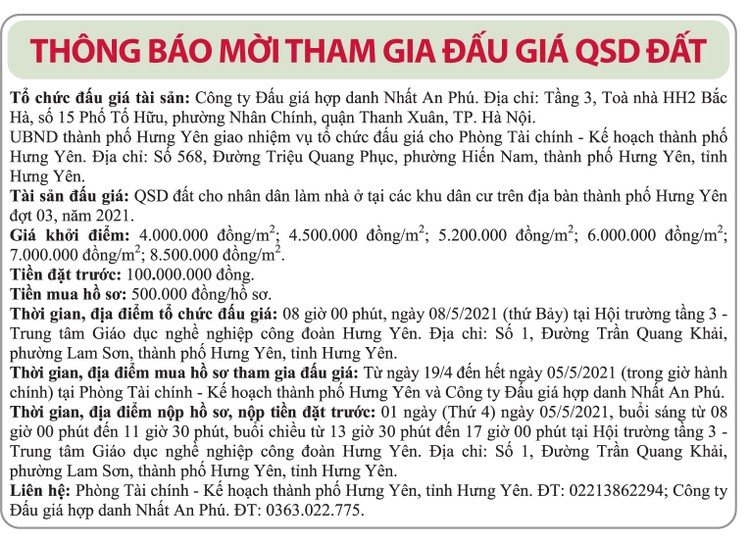Ngày 8/5/2021, đấu giá quyền sử dụng đất tại TP.Hưng Yên, tỉnh Hưng Yên ảnh 1