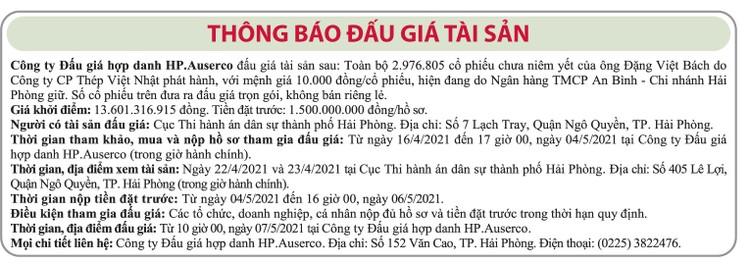 Ngày 7/5/2021, đấu giá 2.976.805 cổ phiếu Công ty CP Thép Việt Nhật ảnh 1