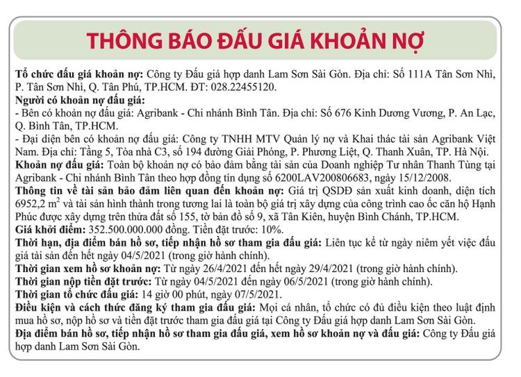 Ngày 7/5/2021, đấu giá toàn bộ khoản nợ của Doanh nghiệp tư nhân Thanh Tùng tại Agribank Chi nhánh Bình Tân ảnh 1
