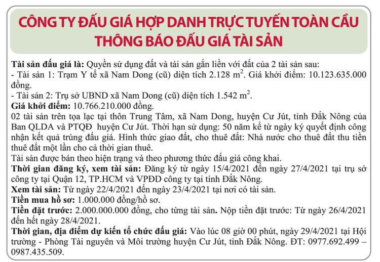 Ngày 29/4/2021, đấu giá quyền sử dụng đất tại huyện Cư Jút, tỉnh Đắk Nông ảnh 1