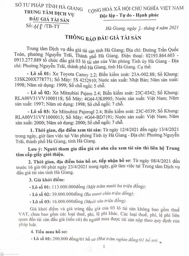 Ngày 26/4/2021, đấu giá lô xe ô tô tại tỉnh Hà Giang ảnh 1