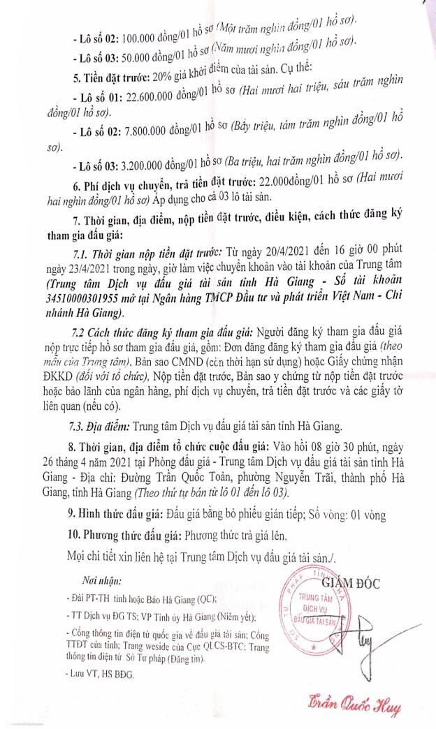 Ngày 26/4/2021, đấu giá lô xe ô tô tại tỉnh Hà Giang ảnh 2