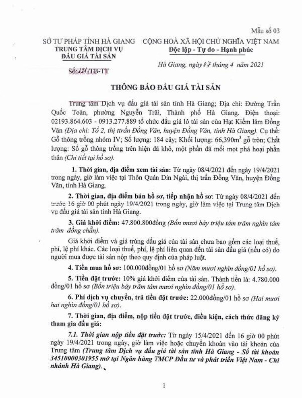 Ngày 23/4/2021, đấu giá lô tài sản tại tỉnh Hà Giang ảnh 1