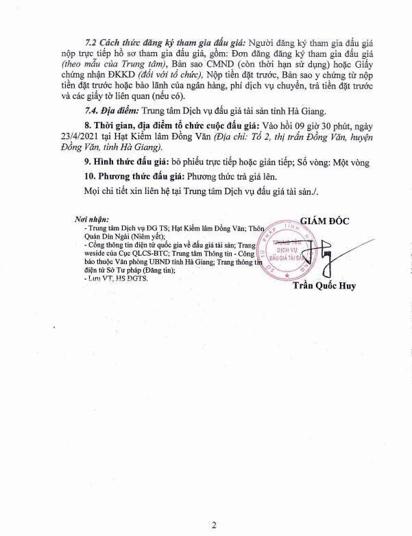Ngày 23/4/2021, đấu giá lô tài sản tại tỉnh Hà Giang ảnh 2