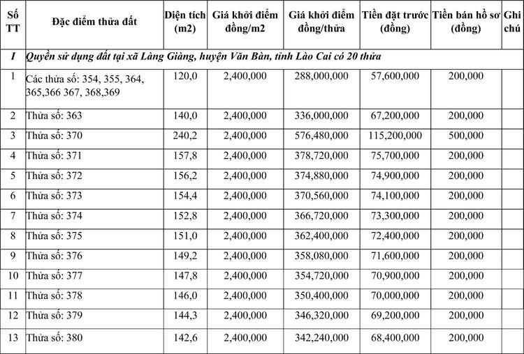 Ngày 7/5/2021, đấu giá quyền sử dụng đất tại huyện Văn Bàn, tỉnh Lào Cai ảnh 1