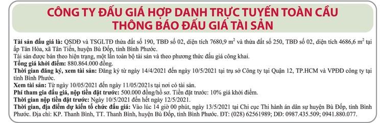 Ngày 13/5/2021, đấu giá quyền sử dụng đất tại huyện Bù Đốp, tỉnh Bình Phước ảnh 1