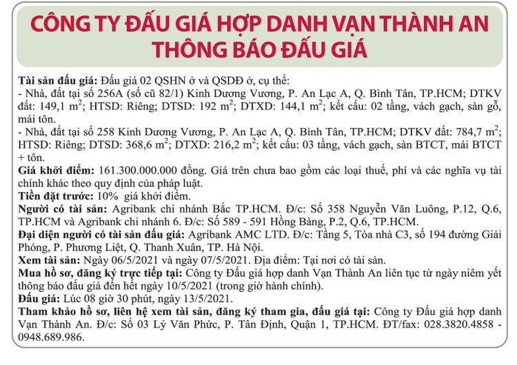 Ngày 13/5/2021, đấu giá quyền sử dụng đất tại quận Bình Tân, TP.HCM ảnh 1