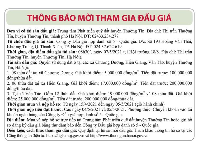 Ngày 7/5/2021, đấu giá quyền sử dụng đất tại huyện Thường Tín, Hà Nội ảnh 1