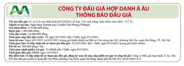 Ngày 10/5/2021, đấu giá xe ô tô Huyndai tại Hà Nội ảnh 1