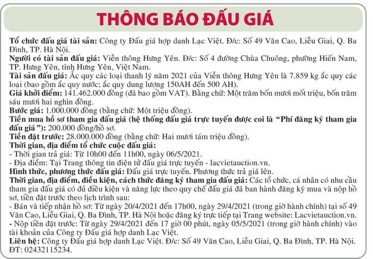 Ngày 6/5/2021, đấu giá ắc quy các loại thanh lý tại tỉnh Hưng Yên ảnh 1