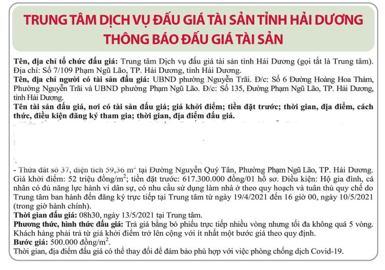 Ngày 13/5/2021, đấu giá quyền sử dụng đất tại thành phố Hải Dương, tỉnh Hải Dương ảnh 1