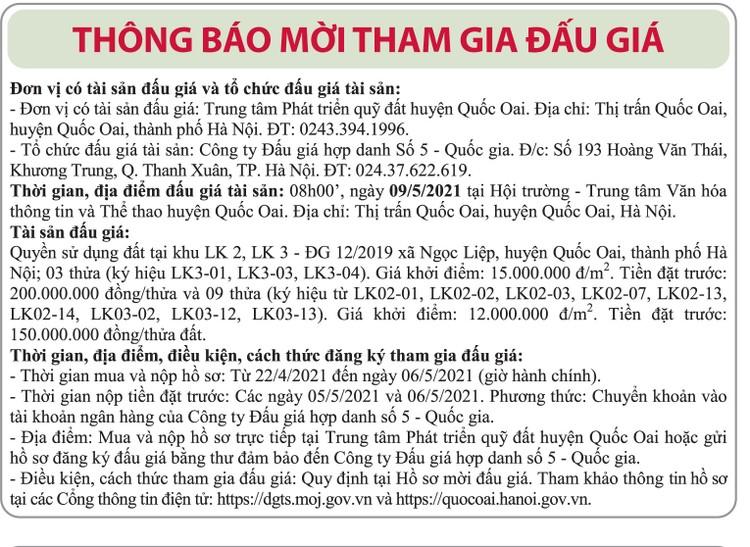 Ngày 9/5/2021, đấu giá quyền sử dụng đất tại huyện Quốc Oai, TP.Hà Nội ảnh 1