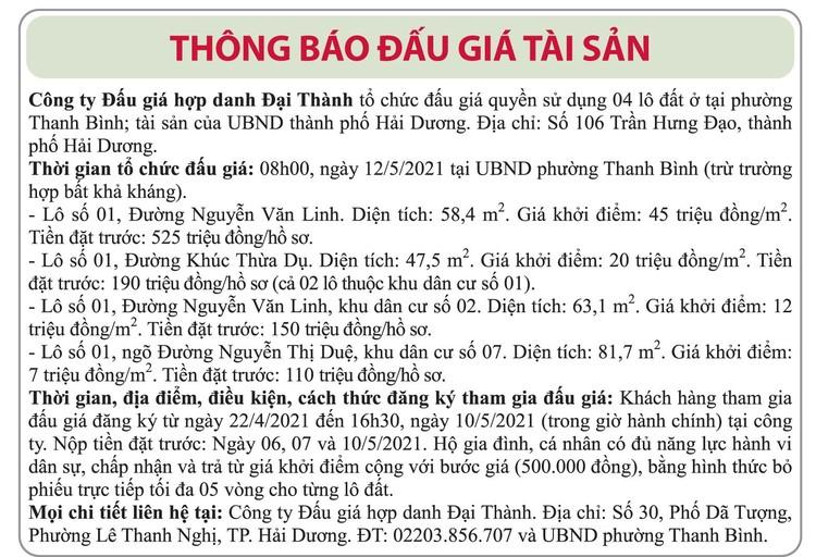 Ngày 12/5/2021, đấu giá quyền sử dụng đất tại thành phố Hải Dương, tỉnh Hải Dương ảnh 1