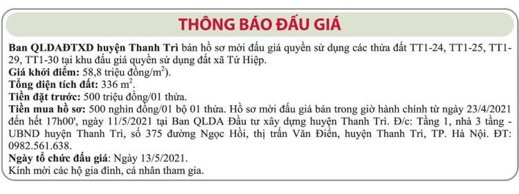 Ngày 13/5/2021, đấu giá quyền sử dụng đất tại huyện Thanh Trì, TP.Hà Nội ảnh 1