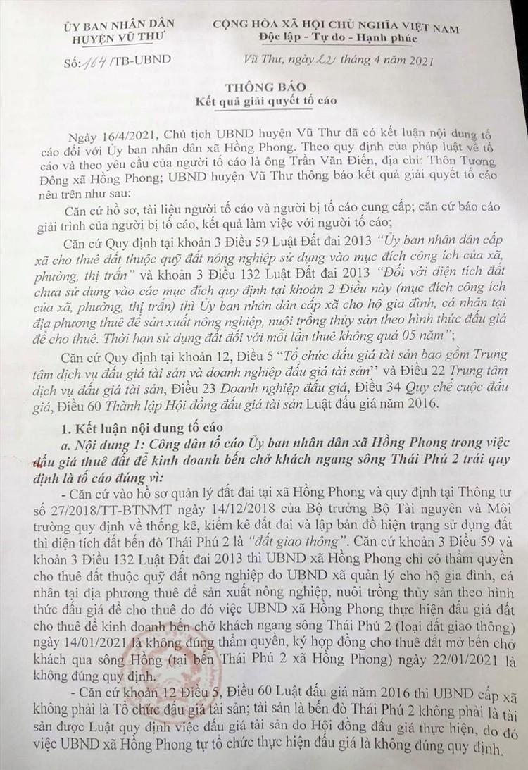 Thái Bình: Đấu giá bến phà Thái Phú 2 là không đúng quy định ảnh 1