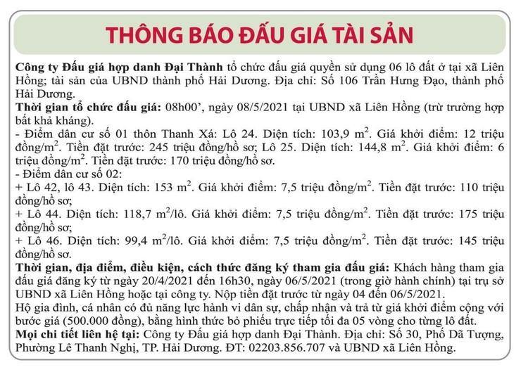 Ngày 8/5/2021, đấu giá quyền sử dụng đất tại thành phố Hải Dương, tỉnh Hải Dương ảnh 1