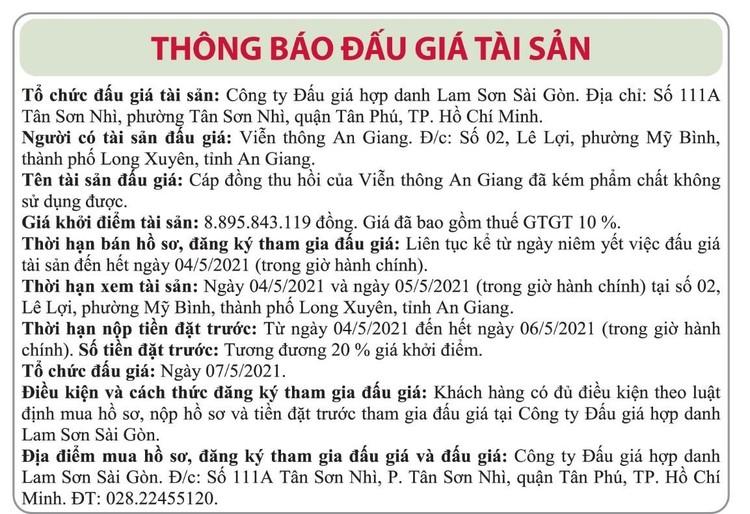 Ngày 7/5/2021, đấu giá cáp đồng thu hồi tại tỉnh An Giang ảnh 1