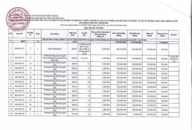 Ngày 15/5/2021, đấu giá quyền sử dụng đất tại huyện Phù Cát, tỉnh Bình Định ảnh 1