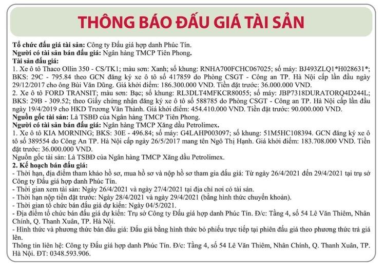 Ngày 4/5/2021, đấu giá 3 xe ô tô tại Hà Nội ảnh 1