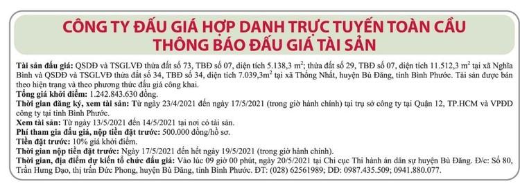 Ngày 20/5/2021, đấu giá quyền sử dụng đất tại huyện Bù Đăng, Bình Phước ảnh 1