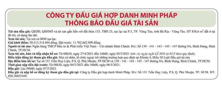 Ngày 7/5/2021, đấu giá quyền sử dụng đất tại thành phố Vũng Tàu, tỉnh Bà Rịa – Vũng Tàu ảnh 1