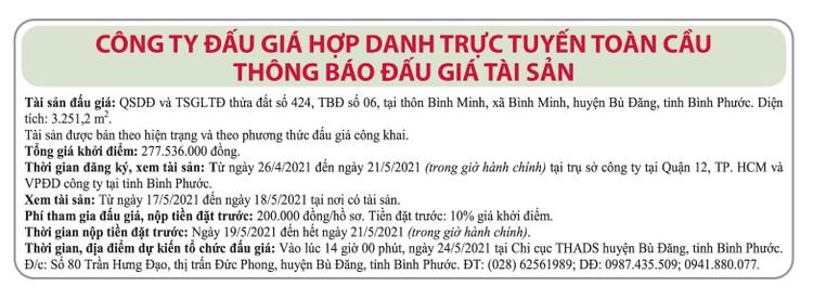 Ngày 24/5/2021, đấu giá quyền sử dụng đất tại huyện Bù Đăng, tỉnh Bình Phước ảnh 1