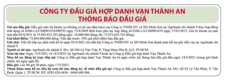 Ngày 17/5/2021, đấu giá khoản nợ của Công ty TNHH ĐT và XD Minh Sơn tại Agribank Chi nhánh 9 ảnh 1
