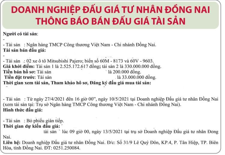 Ngày 13/5/2021, đấu giá xe ô tô Mitshubshi tại tỉnh Đồng Nai ảnh 1