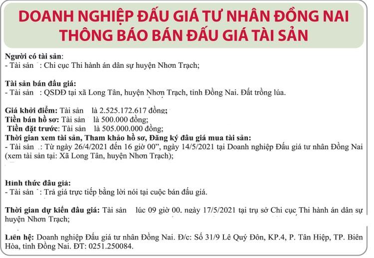 Ngày 17/5/2021, đấu giá quyền sử dụng đất tại huyện Nhơn Trạch, tỉnh Đồng Nai ảnh 1