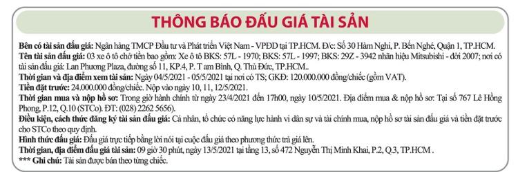 Ngày 13/5/2021, đấu giá 3 xe ô tô chở tiền Mitshubshi tại TPHCM ảnh 1