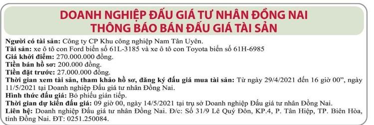 Ngày 14/5/2021, đấu giá 2 xe ô tô tại tỉnh Đồng Nai ảnh 1