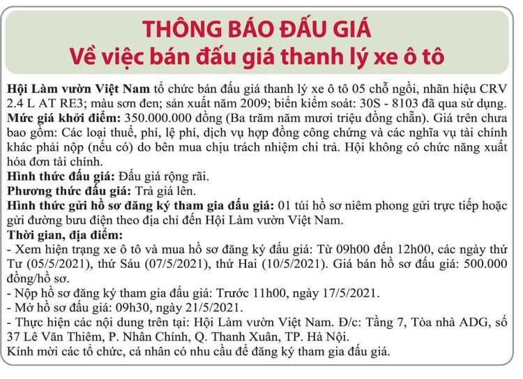 Ngày 21/5/2021, đấu giá xe ô tô Honda tại Hà Nội ảnh 1