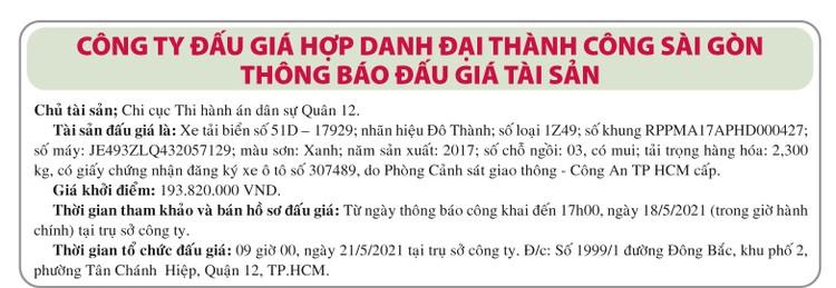 Ngày 21/5/2021, đấu giá xe ô tô tải Đô Thành tại TPHCM ảnh 1