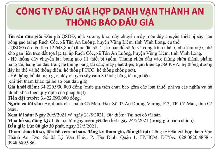 Ngày 27/5/2021, đấu giá quyền sử dụng đất và máy móc thiết bị tại huyện Vũng Liêm, tỉnh Vĩnh Long ảnh 1