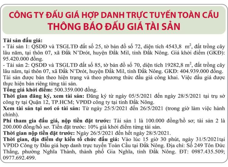 Ngày 31/5/2021, đấu giá quyền sử dụng đất tại huyện Đắk Mil, tỉnh Đắk Nông ảnh 1