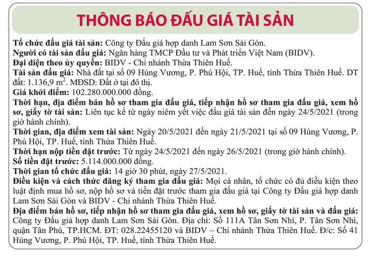 Ngày 27/5/2021, đấu giá quyền sử dụng đất tại TP.Huế, tỉnh Thừa Thiên Huế ảnh 1