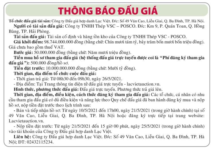 Ngày 26/5/2021, đấu giá tài sản cố định và hàng tồn kho tại Hà Nội ảnh 1