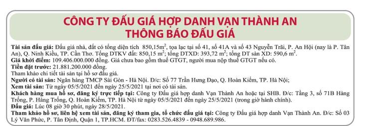 Ngày 28/5/2021, đấu giá nhà đất tại quận Ninh Kiều, TP.Cần Thơ ảnh 1