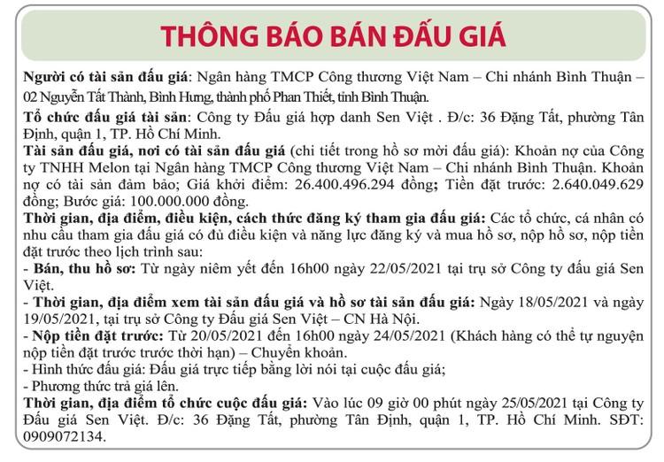 Ngày 25/5/2021, đấu giá khoản nợ của Công ty TNHH Melon tại Vietinbank Chi nhánh Bình Thuận ảnh 1