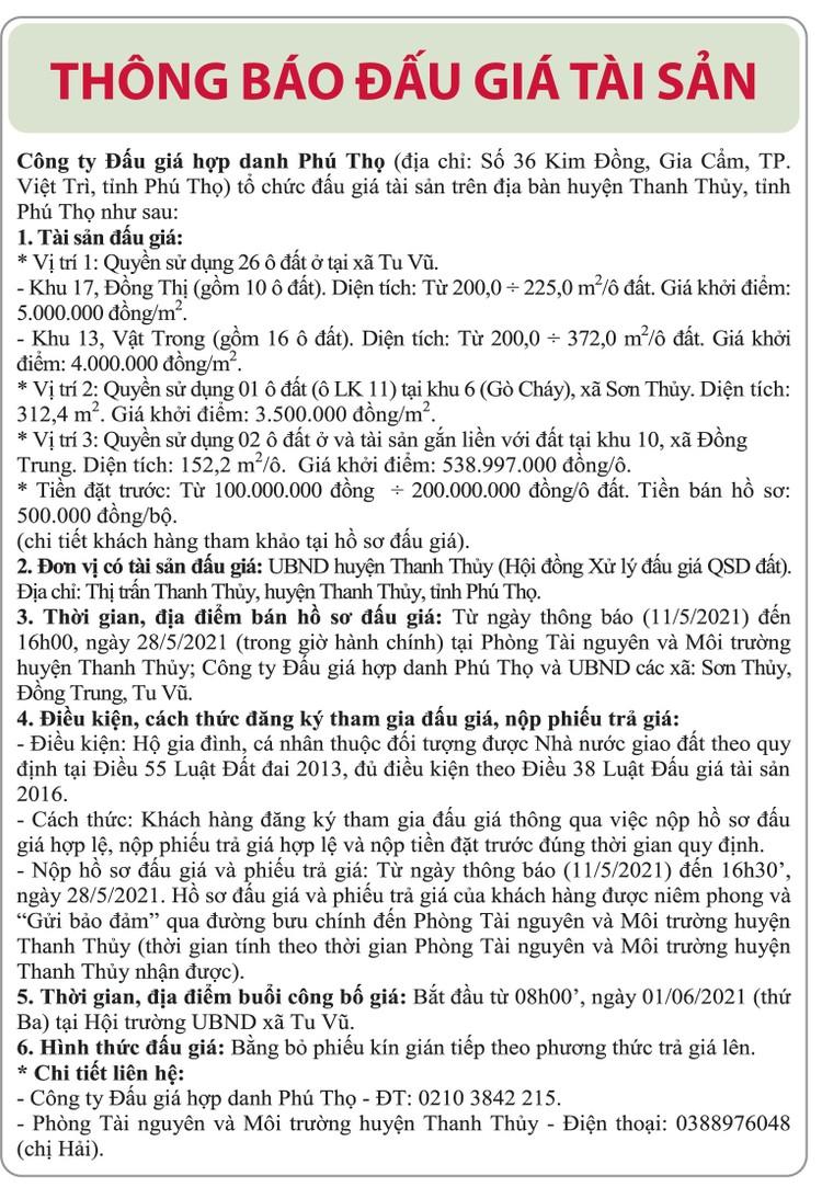 Ngày 1/6/2021, đấu giá quyền sử dụng đất tại huyện Thanh Thủy, tỉnh Phú Thọ ảnh 1