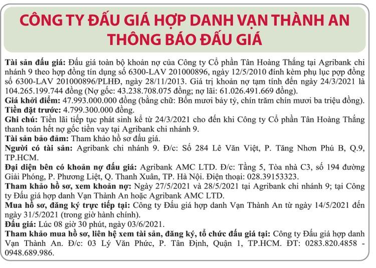 Ngày 3/6/2021, đấu giá khoản nợ của Công ty CP Tân Hoàng Thắng tại Agibank Chi nhánh 9 ảnh 1