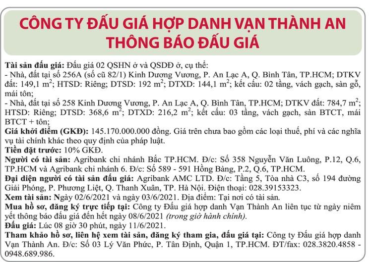 Ngày 11/6/2021, đấu giá quyền sử dụng đất tại quận Bình Tân, TP.HCM ảnh 1