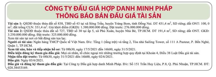 Ngày 3/6/2021, đấu giá quyền sử dụng đất tại huyện Trảng Bom (Đồng Nai) và huyện Nhà Bè (TP.HCM) ảnh 1