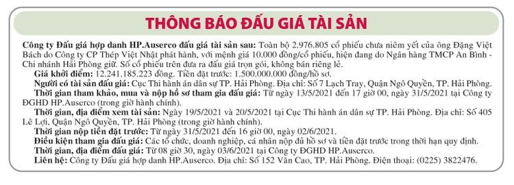 Ngày 3/6/2021, đấu giá 2.976.805 cổ phiếu Công ty CP Thép Việt Nhật ảnh 1