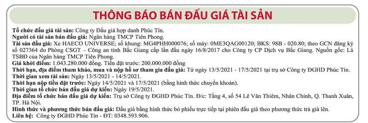 Ngày 19/5/2021, đấu giá xe HAECO UNIVERSE tại Hà Nội ảnh 1